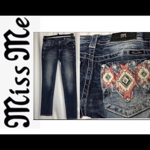 Miss Me Signature Skinny Jean with Aztec Pockets